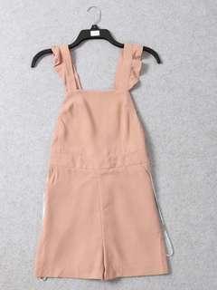 🚚 OshareGirl 04 英單春粉純色荷葉肩帶背帶連身短褲