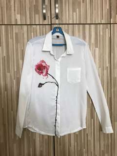 White Shirt with Flower
