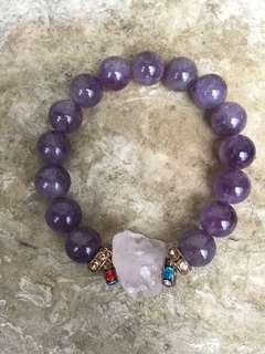 Amethyst with Raw rose quartz bracelet