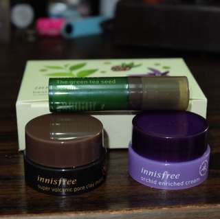 INNISFREE SUPER VOLCANIC PORE CLAY MASK GREEN TEA SEED SERUM TRIAL KIT