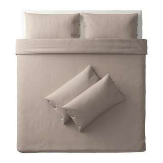 PUDERVIVA Quilt cover and 4 pillowcases, natural, 240x220/50x80 cm IKEA