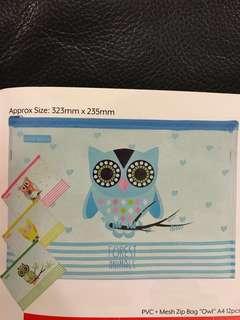 "PVC Meah Zip Bag ""Owl"" A4 (MOQ 12pcs) - Preorder"