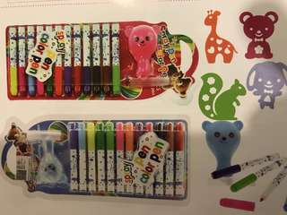 Children's gift: Spray MAGIC pens 12 colours + stencils (min pre-order 12 sets x 12pcs)