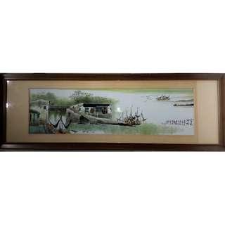 省高工賴宗有 -「古運河畔」粉彩、新彩瓷畫
