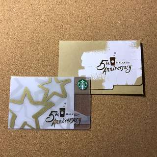 Malaysia Starbucks 5th Star Anniversary Card 2017 with Sleeve