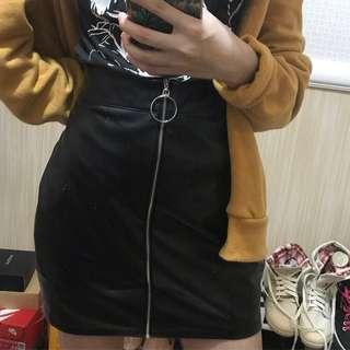 """26""""-27"""" Retro High-Waist Ring Zip Skirt"""