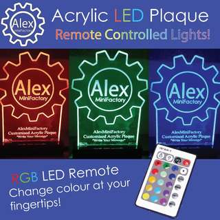 LED Acrylic Plaque - Customised Acrylic Plaque with RGB Remote Control!