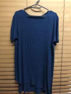 """Blue Zara """"high-low"""" Top"""