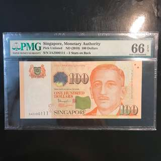 2 Stars Varieties! 2018 Singapore 🇸🇬 $100 TS Sign, 3AZ 000111 Binary Serial Number PMG 66 EPQ!