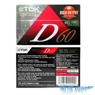 TDK Audio Cassette Tape D60 IEC 1 Type 1 High Output 📼
