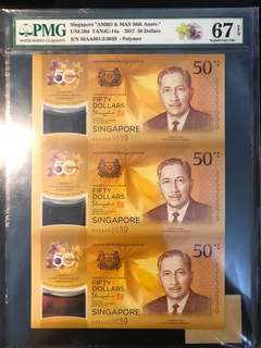 ⭐️ Plate Note! 2017 Singapore 🇸🇬 $50 CIA Uncut, First Prefix 50AA 801039/802039/803039 3 in 1 Uncut, Plate Note Of Singapore Banknote Complete Prefix Reference, Page 314! Rare To Hold Such Status Collection From The Book ⭐️