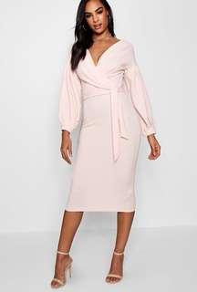 Boohoo Off Shoulder Wrap Dress S