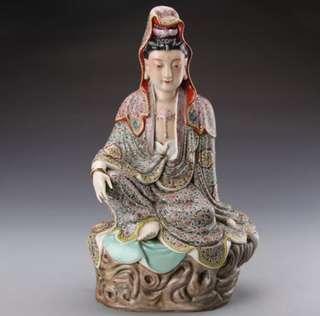 80s guan yin 坐台观音佛像雕像