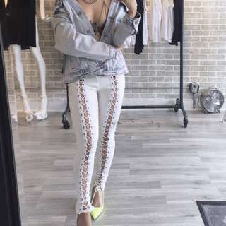 White Lace Up Pants S