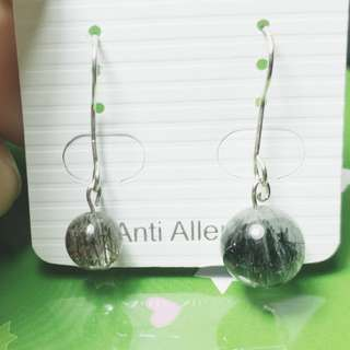 黑髮晶不對稱耳環 genuine hi-Q black rutilated quartz earrings