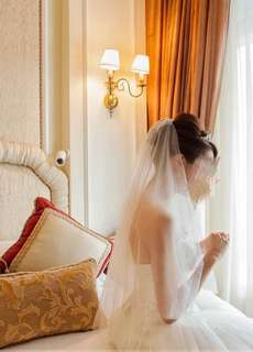 中長款短頭紗 美國紗 婚紗 vera wang feel pre wedding veil gown