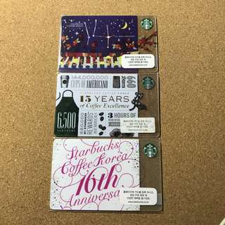 Korea Starbucks 14th 15th 16th Anniversary Card Set