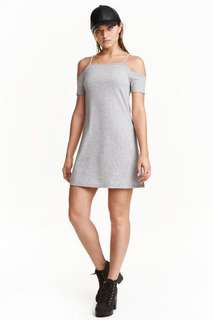 H&M grey off shoulder dress