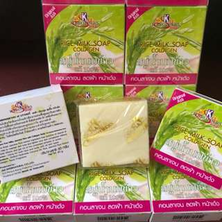 THAI PURE MILKY JASMINE RICE MILK SOAP WITH COLLAGEN ( THE HERBAL MOISTURIZING SOAP )