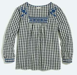 Jcrew Gigham Blue Embroiderry Top