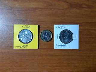 1986 & 1987 Singapore Extra Large Uncirculated $1 Coins