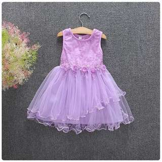 Floral purple sleeveless dress for toddler