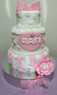 3-Layer Baptismal Cake for Baby Girl