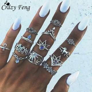 Crazy Feng Bohemian Punk Crystal Jewerly Rings 13Pcs/Lot For Women Antique Silver Horse Flower Inifinite Ring Set Anillos Corona