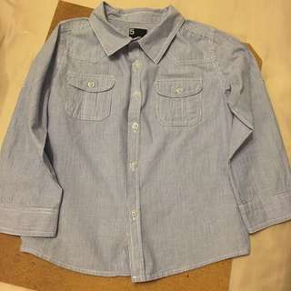 Cotton On Boy Long Sleeve Shirt Blue White Stripe