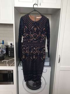 Ministry of Style Navy Nude Lace Dress sz 10