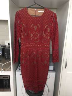 Ministry of Style Red Nude Lace Dress sz 10