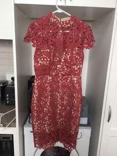 Seduce Pink Nude Lace Dress never worn sz 10 RRP $219.95