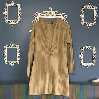 Long soft beige cardigan