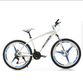 Brand new 26'' Mountain Bike, with Aluminium alloy frame , 3 Spoke wheels , 21 speed Shifter, Both Quick Release wheels, Disc brakes