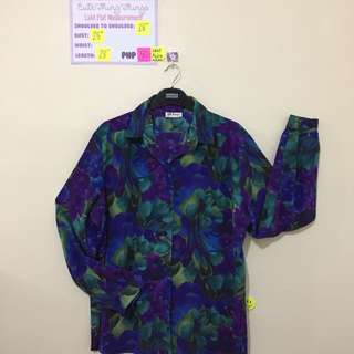 XXL Indigo and Green Floral Long Sleeved Top