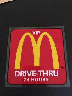 Mcd McDonalds Drive-Thru Car Sticker