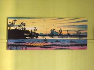 Sunset sunrise beach seaside trees painting