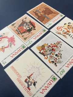 1991迪士尼郵票 聖誕節6全 Donald Duck 唐老鴨 米奇