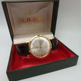 60s 年代 ~ 瑞士名錶 雷達 RADO 男裝 珍珠白色面 手動上練 18K 金 皮帶錶 w/Box