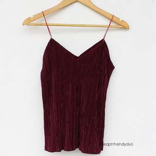 Maroon Electric Pleated Cami