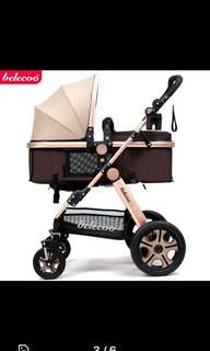 BN Belecoo Gold Pram with four wheel suspension