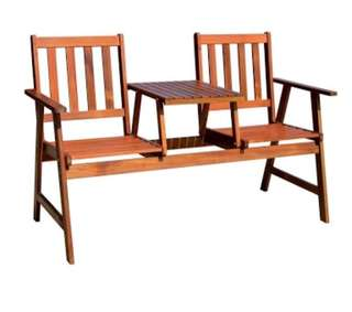 Outdoor bench with table