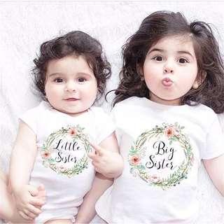 姐妹裝 Little/ Big sister 家庭相 印花上衣