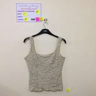 Beige Textured Lace Sleeveless Top