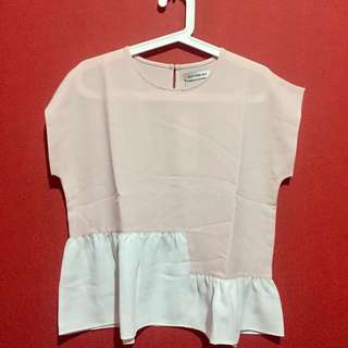 NEW-blouse pink putih