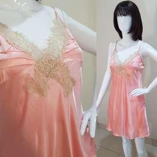 Peach Silk Silky Lingerie Gaun Malam Tidur Pakaian Dalam