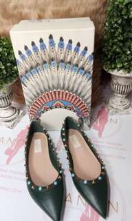 Valentino Rockstud Ballerina Flats Dark Green/ Turquoise Studs Size 38