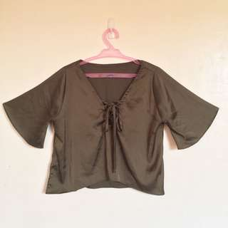 Trippy Swag Crop Top with Bell Sleeves