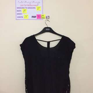 Black Top with Front Pocket, Sexy T-Back and Lace Sides
