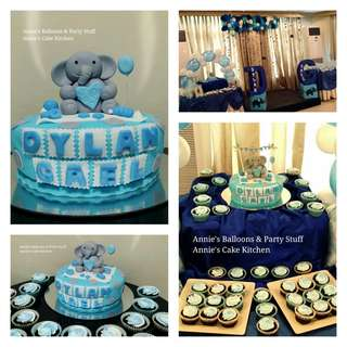 1-Layer Baby Elephant Cake with 20 Cupcakes